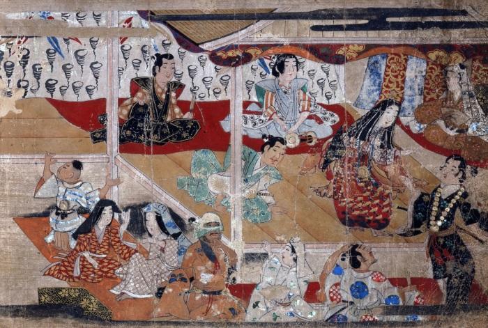 Фрагмент живописного свитка начала XVII века, изображающий представление Идзумо-но Окуни. \ Фото: gamingmaster.ir.