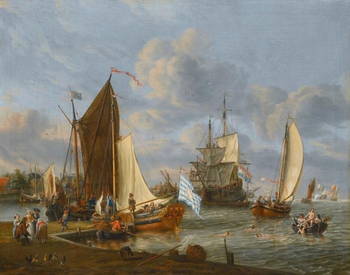 Голландская гавань с пришвартованными яхтой и галиотом. Автор: Abraham Stork.