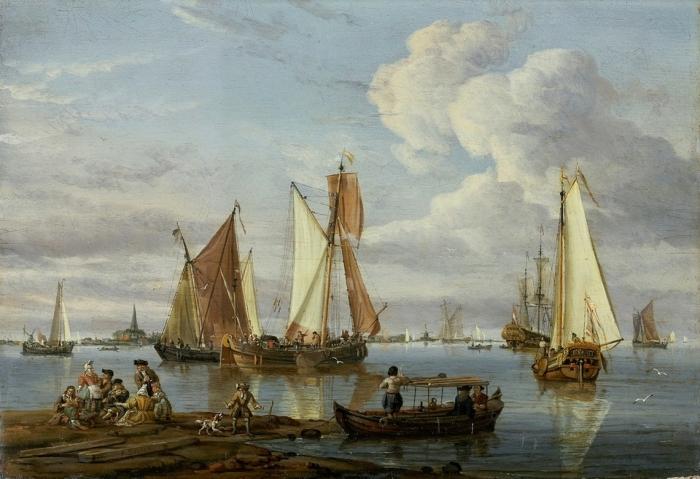 Голландские суда в устье реки. Автор: Abraham Stork.