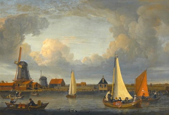 Речной пейзаж с рыбаками и ветряными мельницами. Автор: Abraham Stork.