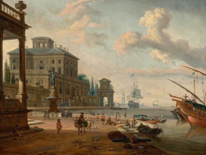 Итальянская гавань с фигурами на берегу и помпезной архитектурой. Автор: Abraham Stork.