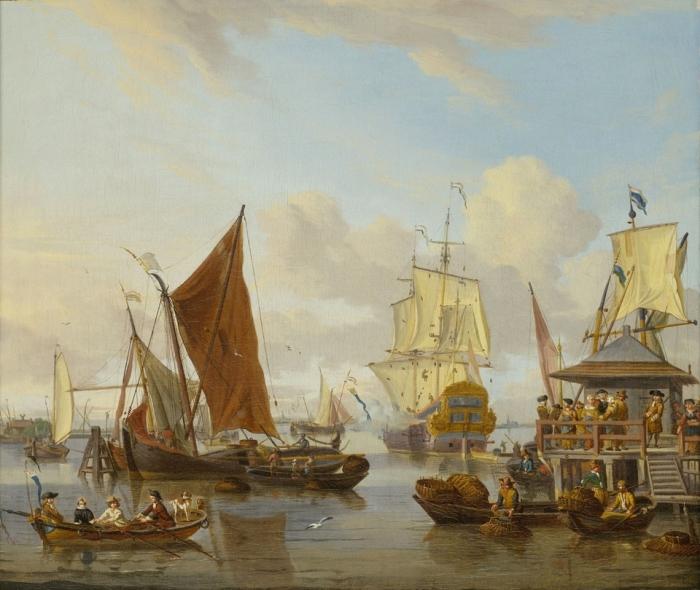 Суда, покидающие Амстердам. Автор: Abraham Stork.