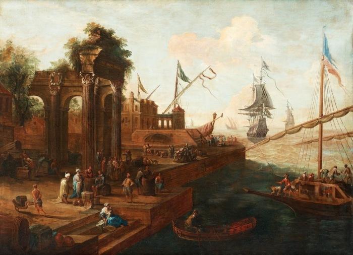 Южный порт с фигурами и кораблями. Автор: Abraham Stork.