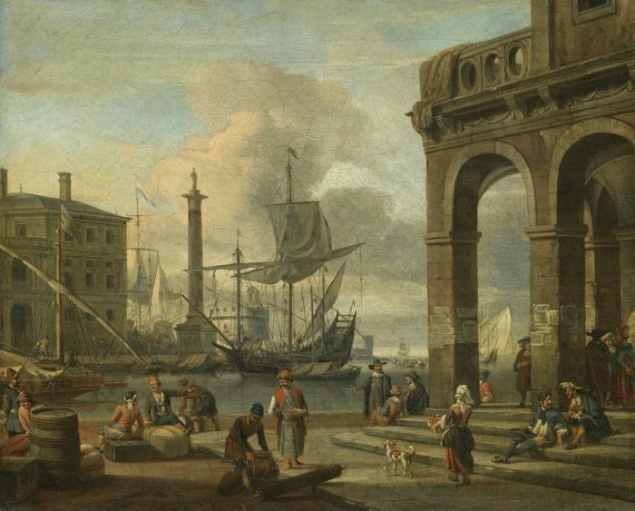 Каприччио средиземноморского порта с фигурами на переднем плане. Автор: Abraham Stork.