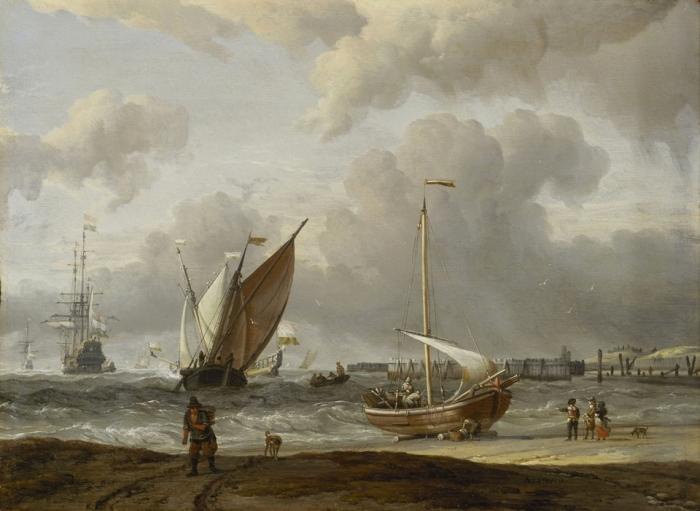Рыбацкие лодки в шторм у голландского побережья Ден-Хелдер. Автор: Abraham Stork.