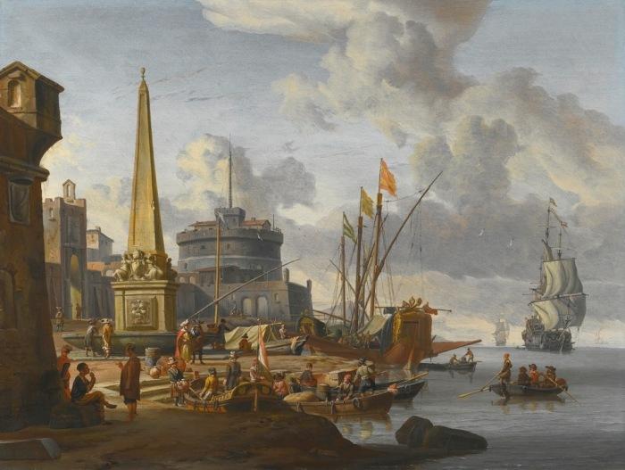 Укреплённый средиземноморский порт с обелиском и причалом. Автор: Abraham Stork.