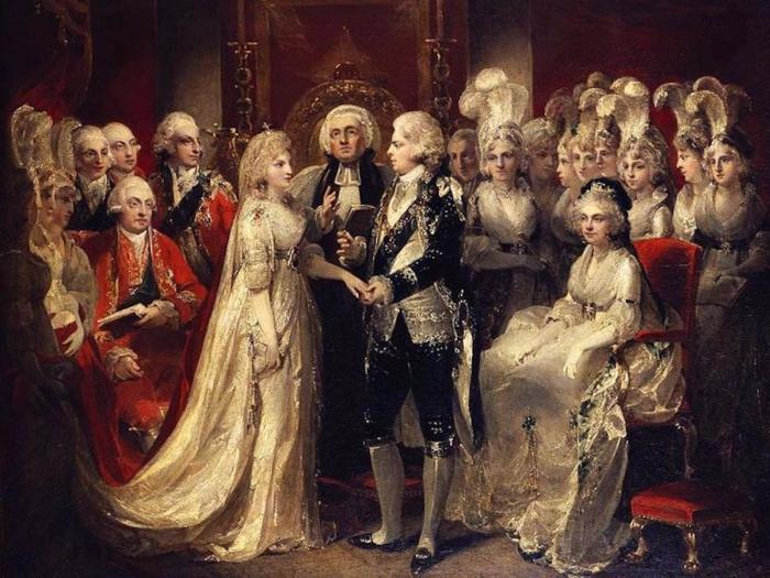 Георг IV и Каролина Брауншвейгская, женитьба во дворце Святого Джеймса, 8 апреля 1795 года. \ Фото: au.finance.yahoo.com.