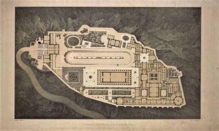 План королевского дворца Акрополя, литография рисунка Карла Фридриха Шинкеля. \ Фото: pinterest.com.