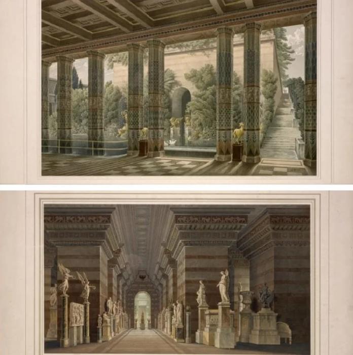 Вид на Королевский дворец Акрополя, литография рисунка Карла Фридриха Шинкеля. \ Фото: yandex.ua.