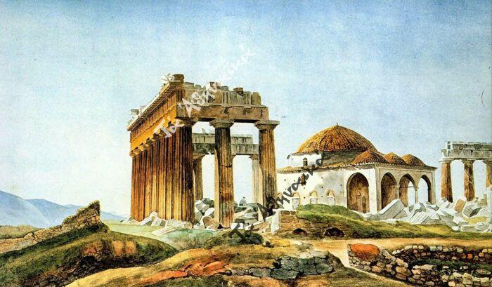 Османская мечеть, построенная на развалинах Парфенона после 1715 года, Пьер Пейтье, 1830-е годы. \ Фото: taathinaika.gr.