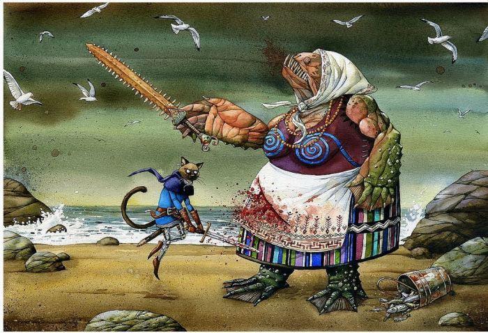 Принц - кот убивает рыбу. Автор: Адам Пикальский.