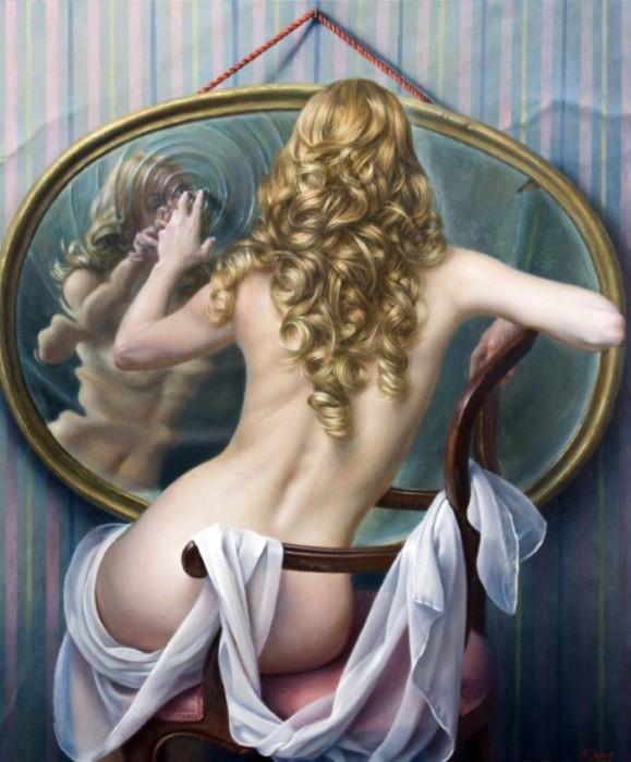 В зеркале. Автор: испанский художник Алекс Алемани (Alex Alemany).