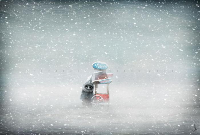 Сова, продающая мороженое. Автор: Александр Янссон (Alexander Jansson).