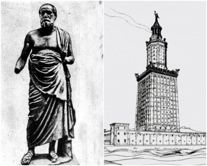 Слева направо:  Сострат Книдский. \ Александрийский маяк, построенный Состратом.