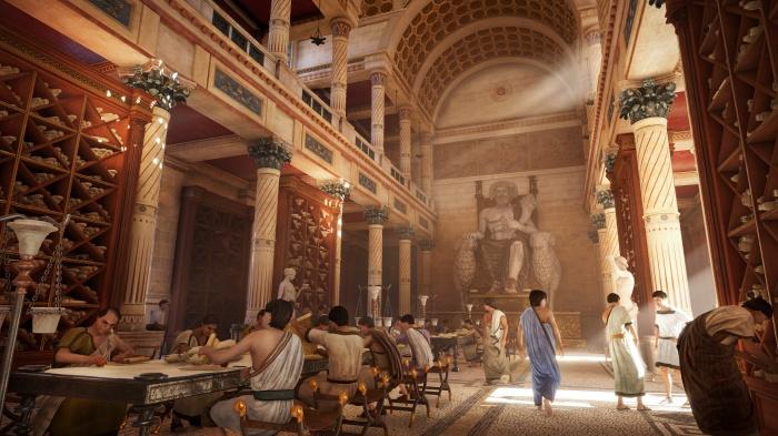 Великая александрийская библиотека (кадр из игры: Assassins Creed). \ Фото: wordpress.com.