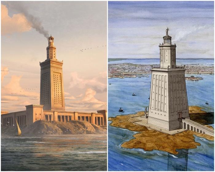 Слева направо: Александрийский маяк, цифровая репродукция. \ Маяк, автор Жан-Клод Голвин.