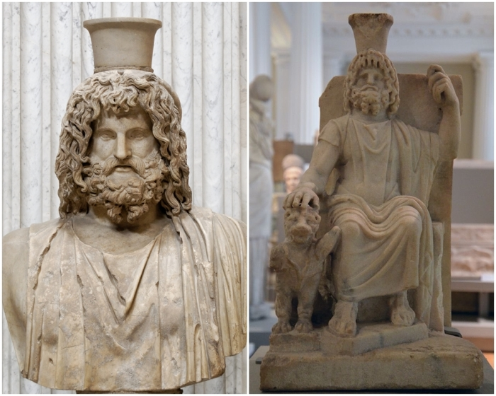 Слева направо: Бюст Сераписа, римская копия греческого оригинала из Александрийского Серапеума, II век н.э. \ Мраморная статуя Сераписа, сидящего на троне и опирающегося одной рукой на Цербера, трехглавого пса, охранявшего Подземный мир, около 100-200 гг. н.э.