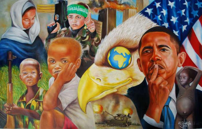 Барак Обама думая об Африке. Автор: Alfi Alfa.