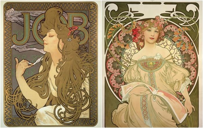 Слева: Papier & cigarette, 1896. Справа: Reverie, 1898, Альфонс Муха. \ Фото: cloudfront.net.