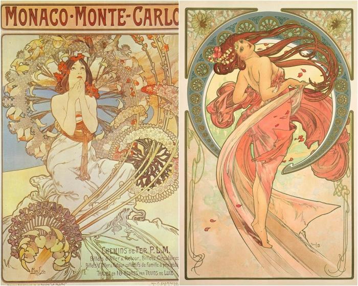 Слева: Monaco-Monte-Carlo, 1897. Справа: The Arts: Dance, 1898, Альфонс Муха. \ Фото: blogspot.com.
