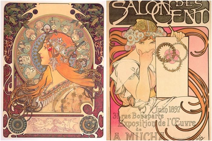Слева:  Le Zodiaque, 1896. Справа: Salon des Cent, 1897, Альфонс Муха. \ Фото: lifegate.com.