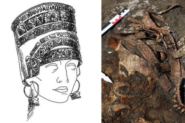 Слева направо: Скифская воительница в матерчатом головном уборе. \ Останки скифской женщины-воительницы, обнаруженные в 2019 году. \ Фото: haaretz.com.