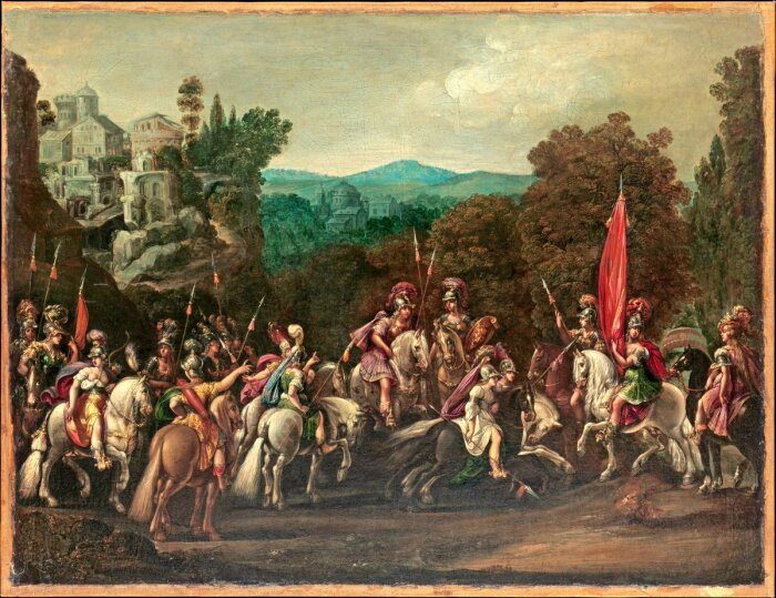Отъезд амазонок, Клод Дерюэ, около 1620-х годов. \ Фото: oceansbridge.com.