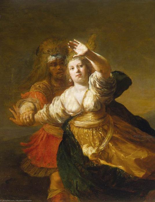 Геракл отнимает пояс у Ипполиты, Николаус Кнюпфер, 1600 год. \ Фото: ru.wikipedia.org.