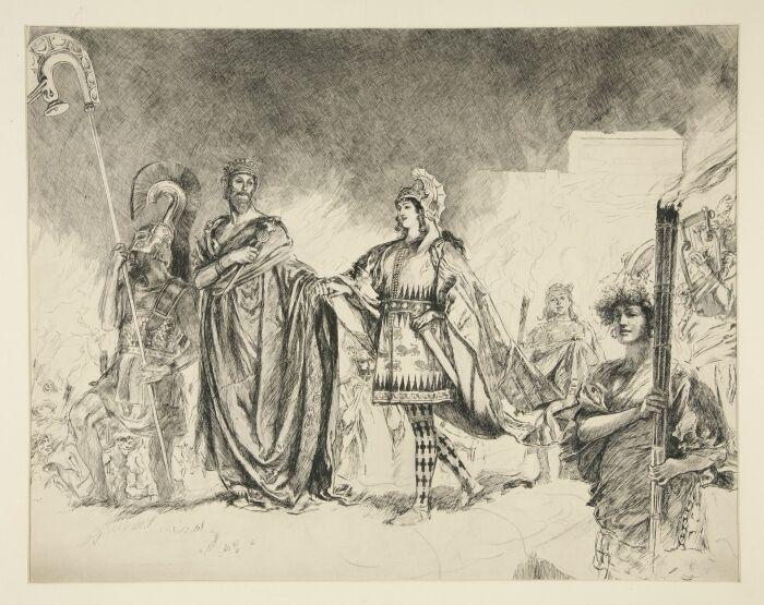 Утро бракосочетания Тесея и Ипполиты (набросок), Эдвин Остин Эбби, 1893 год. \ Фото: artgallery.yale.edu.