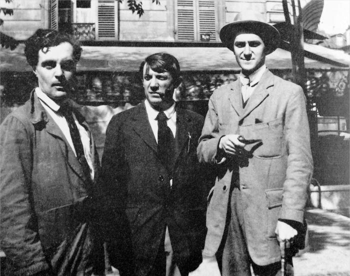 Модильяни, Пикассо и Андре Салмон в кафе Де Ла Ротонда, Париж, 1916 год. \ Фото: pinterest.com.au.