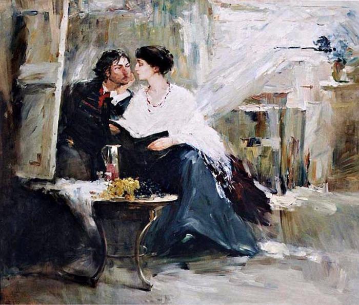 Ахматова и Модиляни у незаконченного портрета. \ Фото: eaculture.ru.