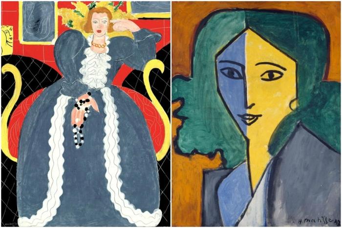 Слева:Анри Матисс - Женщина в голубом (портрет Лидии Делекторской). <br>\ Справа: Анри Матисс - Портрет Лидии Дилекторской, 1947 год. \ Фото: google.com.