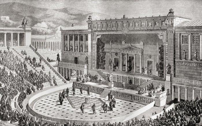 Театр Диониса, Афины Греция. Изображение из книги Harmsworth History of the world, опубликованной в 1908 году. \ Фото: amazon.com.