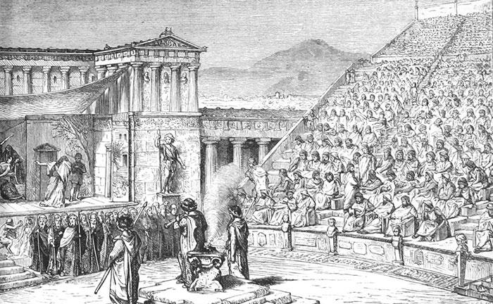 Хор - неотъемлема часть древнегреческого театра. \ Фото: vvhudlit.shpl.ru.