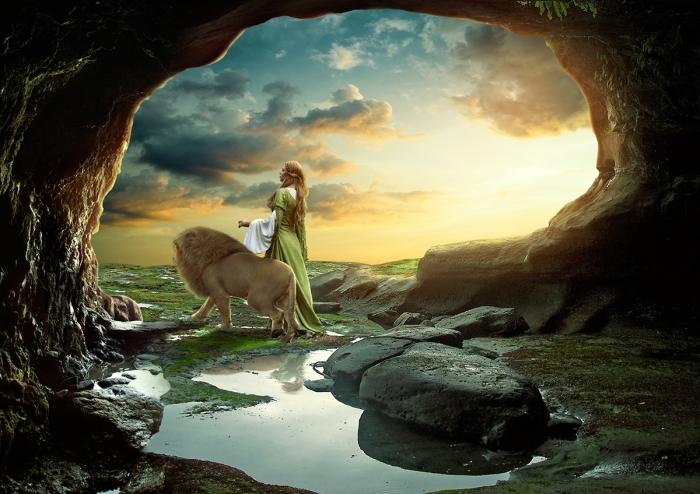 На прогулке со львом. Автор: Anil Saxsena.