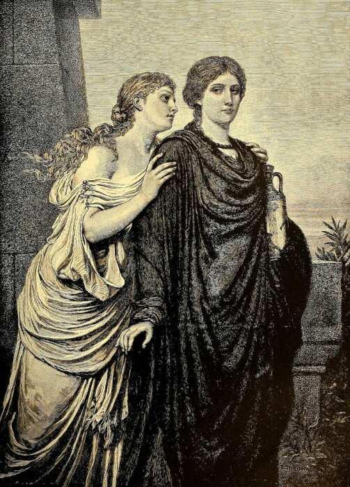 Антигона и Исмена, Эмиль Тешендорф, 1892 год. \ Фото: google.com.
