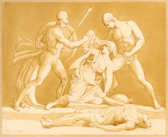 Антигона обнаружена над мёртвым телом её брата, Джон Гибсон, XIX век. \ Фото: royalacademy.org.uk.