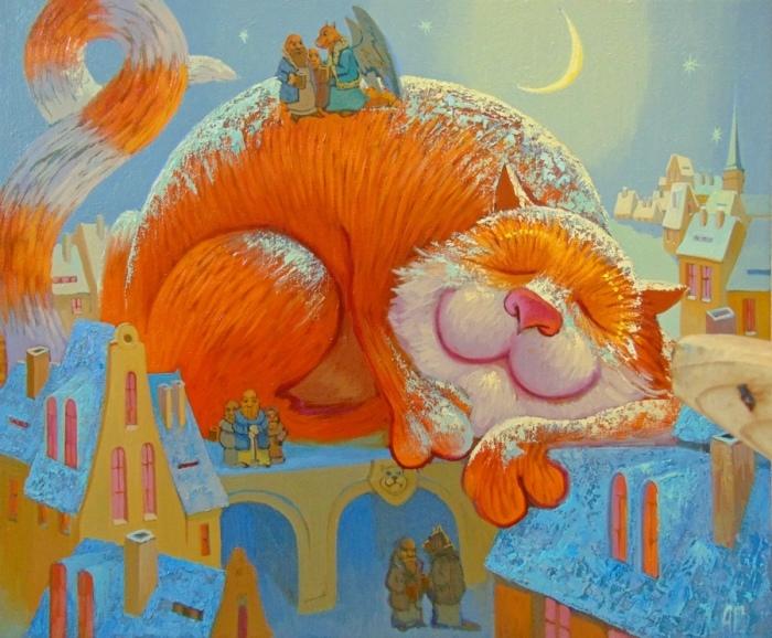 Кот на крыше. Автор: Антон Горцевич.