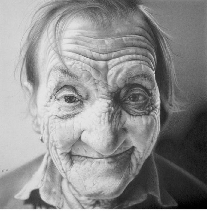 Испещренное морщинками лицо. Автор работ: художник Антонио Финелли (Antonio Finelli).
