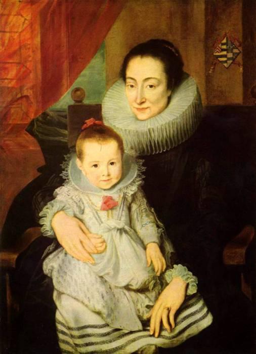 Мария Кларисса, жена Яна Вовериуса, с ребенком, приблизительно 1625 год. Автор: Антонис ван Дейк (Antoon van Dyck).