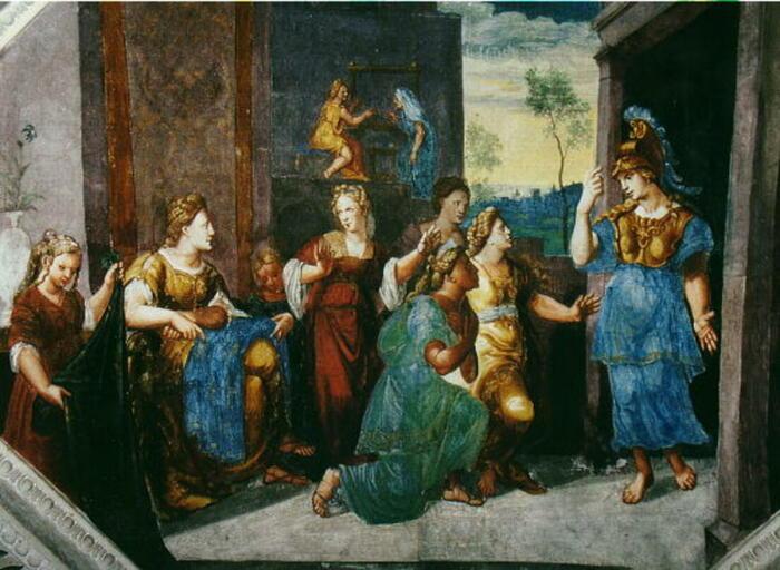 Картина Германа Постумия, изображающая Афину, открывающую себя Арахне и толпе. \ Фото: owlcation.com.