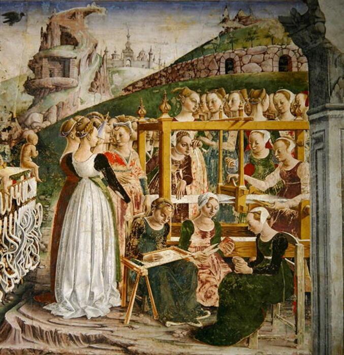 Картина Франческо дель Косса: Толпа собирается вокруг ткацкого станка Арахны. \ Фото: zenysro.cz.