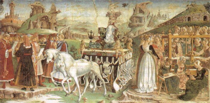 Триумф Минервы, Франческо дель Косса, 1467-70 гг. \ Фото: