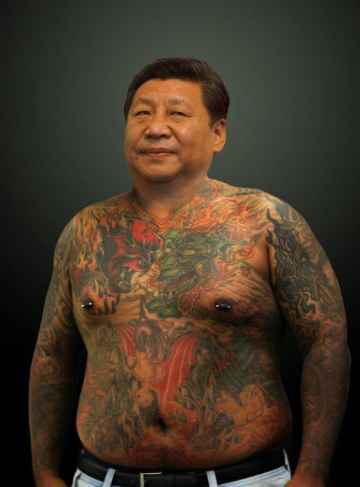Китайский политический деятель - Си Цзиньпин (Xi Jinping). Татуированные президенты. Автор идеи  - фотохудожник Arminas Raugevicius.