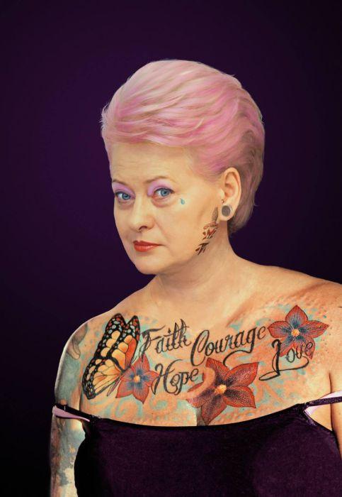 Президент Литвы - Даля Грибаускайте (Dalia Grybauskaite). Татуированные президенты. Автор идеи  - фотохудожник  Arminas Raugevicius.