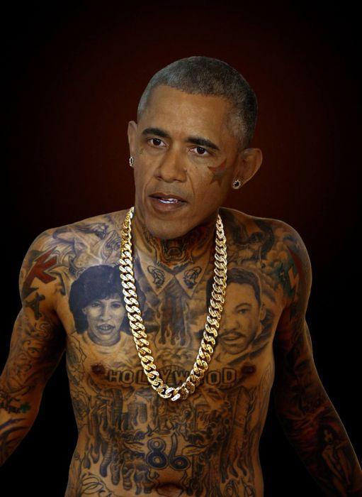 Президент США - Барак Обама (Barack Obama).Татуированные президенты. Автор идеи  - фотохудожник  Arminas Raugevicius.