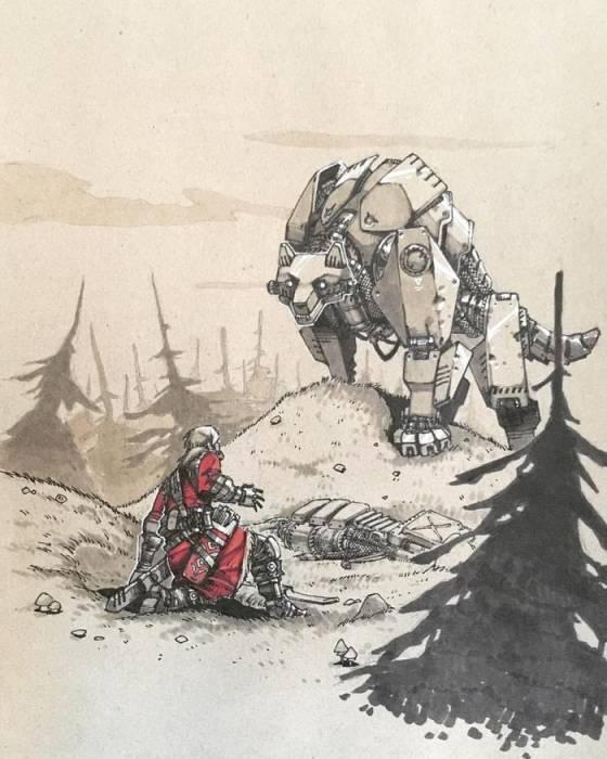 Встреча Ивана-царевича и серого волка в постапокалиптическом будущем. Автор: Артемий Мясников.