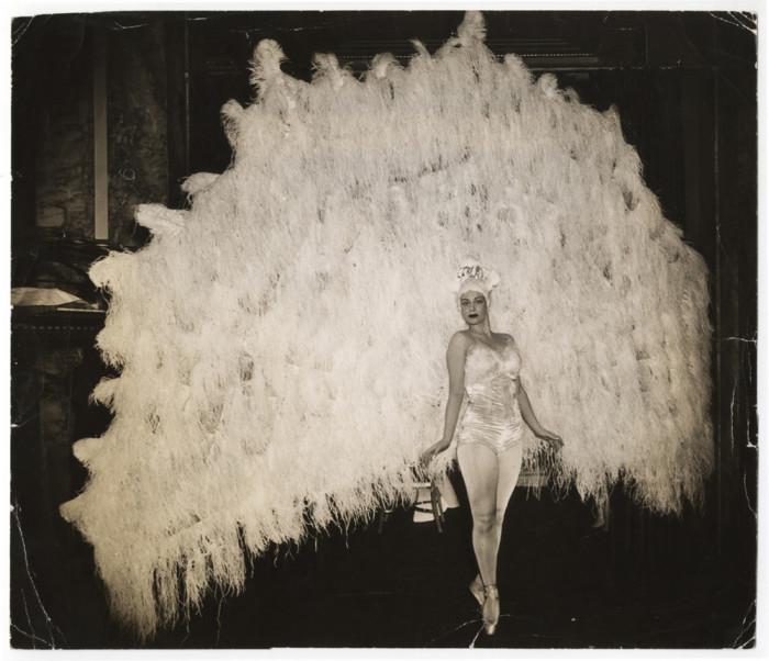 На балу в фешенебельной гостинице «Уолдорф-Астория» балерина Марина Франка в костюме павлина, Манхэттен, Нью-Йорк. Автор: Arthur Fellig (Weegee).