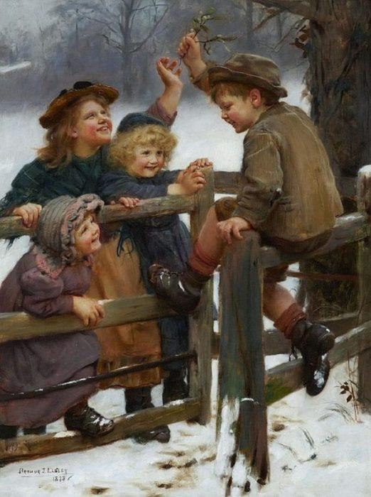 Зима. Автор: Arthur John Elsley.
