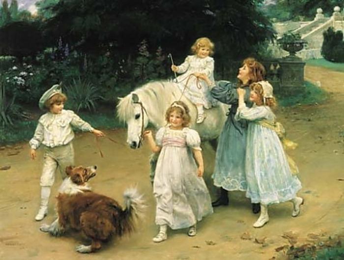 Маленькая принцесса на белом коне. Автор: Arthur John Elsley.